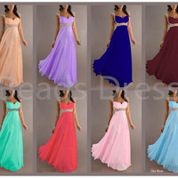 Charming Cap Sleeve Chiffon Dress, Long Prom Dresses, Formal Dress, Long Bridesmaid Dress, Fashion Evening Dress, Chiffon Wedding Dresses