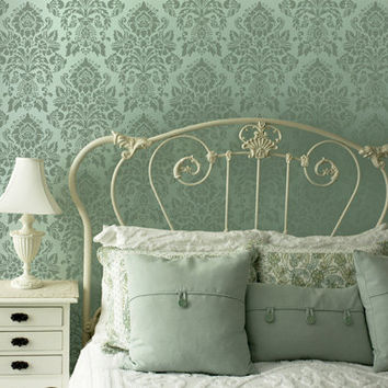 Wall Stencil Antoinette Damask Allover Stencil for DIY Painted Wallpaper