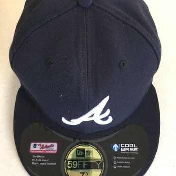 DCCKIHN ATLANTA BRAVES MLB NEW ERA 5950 NAVY WHITE 'A' FITTED HAT