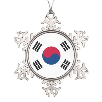 Snowflake Ornament with South Korea Flag