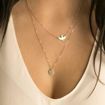 Europe and the United States foreign trade handmade jewelry summer simple wild lady double peace dove necklace ornaments