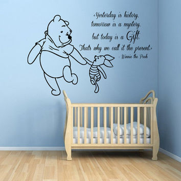 Winnie The Pooh Wall Decals Piglet Wall Quotes Words Children Vinyl Sticker Baby Kids Wall Decor Home Art Girl Boy Nursery Room Decor KG662