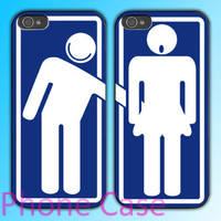toilette bathroom men and women design Couple love case for iPhone 4 case and iPhone 5 case.