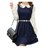Doll Collar Long Sleeved Bottoming Dress Skirt