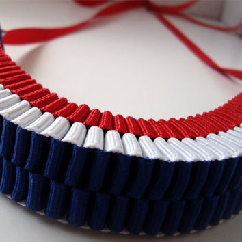 Red White and Blue accordion ribbon necklace