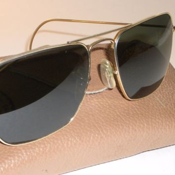 1970's 52mm VINTAGE B&L RAY BAN SMALL G15 WRAP-AROUND CARAVAN AVIATOR SUNGLASSES
