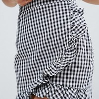 Parisian Petite Frill Gingham Skirt at asos.com