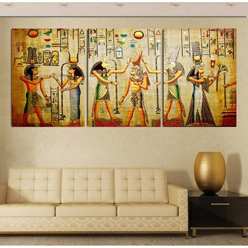 triple abstract no frame picture Egyptian mural Room Escape Modern decorative painting a large art wall art print F/144