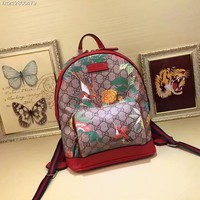 GUCCI GG SUPREME CANVAS EMBROIDERY BACKPACK BAG