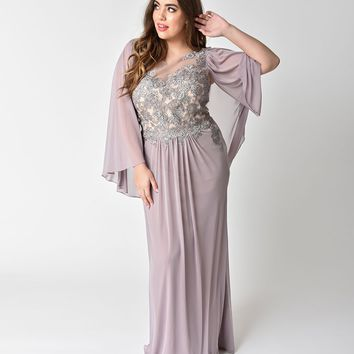 Plus Size Mauve Mocha Embellished Mesh Sleeved Cape Gown