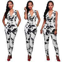 White and Black V-Neck Jumpsuits with Pockets