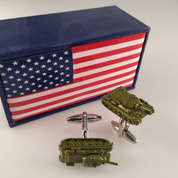 Tank Cufflinks, Rolling Thunder Cufflinks, Men's Cuff Links, Wedding Cuff Links, Father's Day