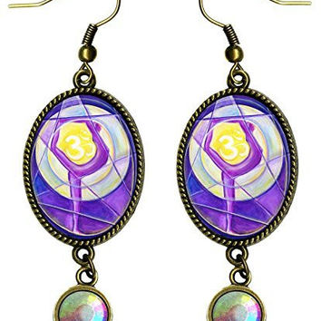 "Ohm Yoga Dancer Antique Bronze Gold Iridescent Rhinestone Long 2 1/2"" Dangling Earrings"