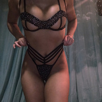 Spaghetti Strap Underwear Sexy Diamonds Stylish Hollow Out Women's Fashion Set [9157097987]