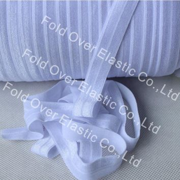 """5/8"""" #029-White Solid Fold Over Elastic Ribbon FOE , 81 colors are available, 50yards/lot"""