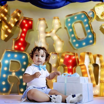 NIKOS CARNIVAL with GOLD edging and Holywood Lights: Carnival Lettersfor Jennifer Stano's Baby Birthday Party