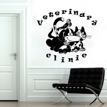 Wall Decals Domestic  Animals Veterinary Clinic Dogs Cats Vinyl Decal Sticker Home Decor Design Veterinary Shop Clinic Grooming Salon  ML159