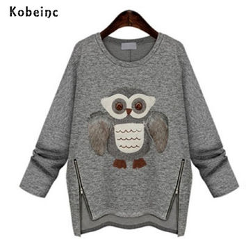 Winter New Moletom Feminino Fashion 2016 Women Hoodie Casual Printing Owls Plus Thick Velvet Long-Sleeved Sweatshirts Tracksuits