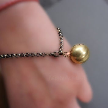 Brass Locket Bracelet Round Sphere - Bronze Chain Free Shipping Etsy