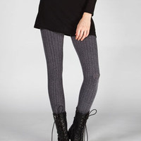 Full Tilt Cable Knit Ankle Leggings Grey  In Sizes