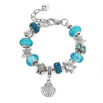 European Ocean Beach Charm Beaded Bracelet Adjustable Size 685 Inch for Women and Teen Girls Seashell Turtle Starfish Aquamarine Murano Glass Beads Prime Quality Gift 925 Silver Plated