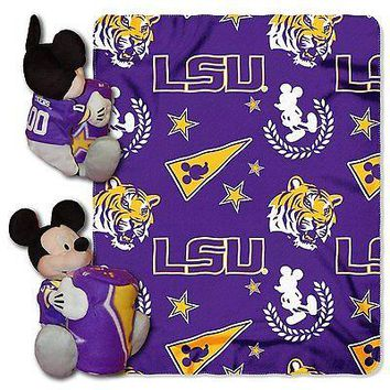 LSU Tigers NCAA Mickey Mouse Throw and Hugger Pillow Set