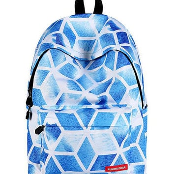 Blue Geo Pattern Padded Straps And Back Backpack