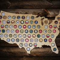 Beer Cap Map of USA - Made From Birch Wood- Craft Beer Cap Collector - Bottle Cap Holder - Beer Cap Display - Personalized Groomsmen Gift