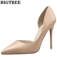 BIGTREE D'Orsay PU Leather 10.5CM Thin Heel Shoes For Women's Party High Pumps Wedding Shoes Women Shoes DS638-5