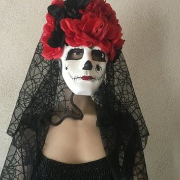 Day of The Dead,Dia De Los Muertos,Halloween,Masquerade,Skull Mask,Headress,Costume Mask,Black Veil,Halloween Party Mask