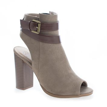 Bonfire By Delicious, Peep Toe Ankle Buckle High Stacked Heel Booties