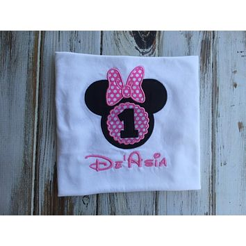 Minnie Mouse 1st Birthday Shirt or Onesuit