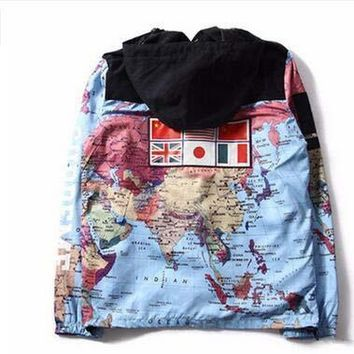 2017 Hot National Flags World Map Printing Windbreaker Patchwork Jacket Cardigan Hoodies Hat Removable Hooded Jacket 4 Color