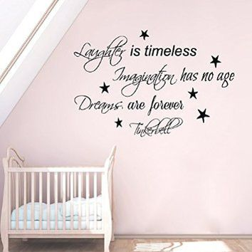 Wall Decals Vinyl Decal Sticker Wording Tinkerbell Quote Laughter Is Timeless Imagination Has No Age Dreams Are Forever Fairy Dust Girl Bedroom Decor Living Room Beauty Salon Home Interior Design Kg889