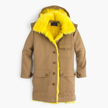 J.Crew Womens Collection Coat With Canary Shearling Lining