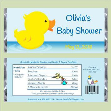 Rubber Ducky Baby Shower Candy Bar Wrappers