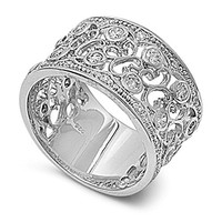 Sterling Silver Women's Clear CZ Vintage Ring Cute 925 Band New 12mm Size 7 (RNG20502-7)