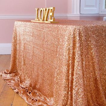 Rectangle Rose Gold Glitter Sequin Tablecloth 90x156inch Embroidered Table Cloth Overlay For Wedding Decoration