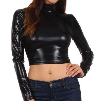 Sakkas Metallic Liquid Mock Neck Turtleneck Long Sleeve Crop Top - Made in USA