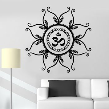 Vinyl Wall Decal Mantra Om Hindu Meditation Yoga Studio Lotus Stickers Unique Gift (796ig)