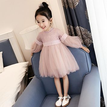 New 2017 Girls Lace Dress Children's Voile Dress Kids Ball Gown Dress Baby Cute Clothes Toddler Autumn Beautiful Dress,2-14Y