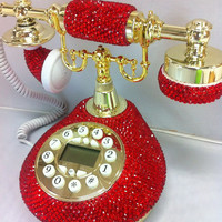 Bling Classic Vintage RED telephone handmade w/ Swarovski Crystal element