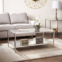 Southern Enterprises Parell Metal and Glass Coffee Table, Metallic Silver - Walmart.com