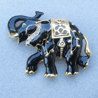 Big Black Enamel & Rhinestone ELEPHANT Trembler Pin