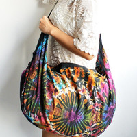 Cotton Bag, Tie Dye, Big Half-Moon 2in1 Backpack and Sling Bag, Messenger Bags, Shoulder, Crossbody Bag, Gym Bag, Diaper Bag, backpack