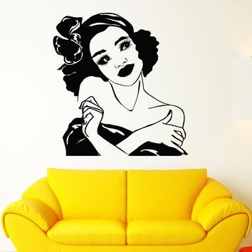 Vinyl Wall Decal African Girl Hairstyle Retro Woman Face Makeup Stickers (2210ig)