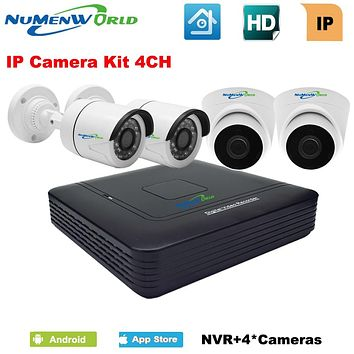 4 Channel 1080P NVR KIT with 4 outdoor/indoor CCTV IP camera 720P network video recorder set Home Surveillance System