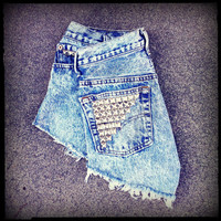 "Vintage High Waisted Studded Acid Wash Levis Cut Off Shorts 28"" Waist"
