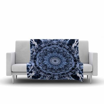 "Nina May ""Tie-Dye Mandala Jain Blue"" Blue White Watercolor Fleece Throw Blanket"