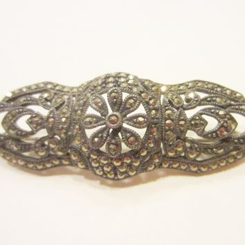 Judith Jack Silver Marcasite Bar Brooch Marked JJ Sterling